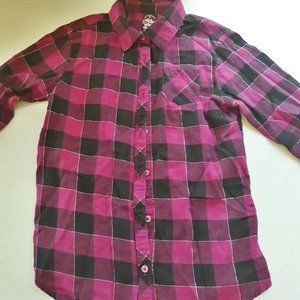 Faded Glory Pink and Black flannel size M(7-8)